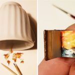 Хасан Кейл рисует очень маленькие картины на нестандартных полотнах