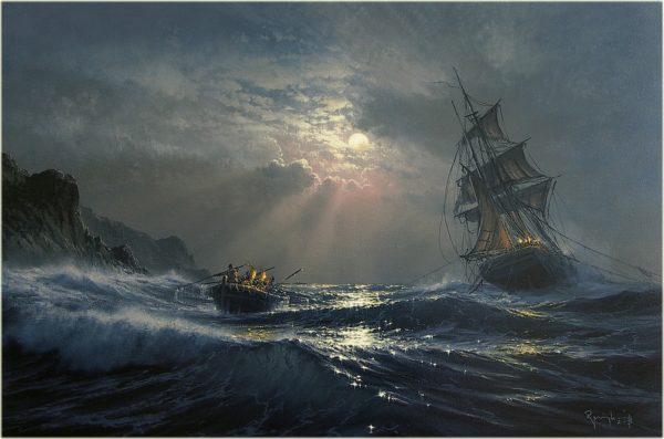 Художник Марек Рузик создает гиперреалистичные картины кораблей в море