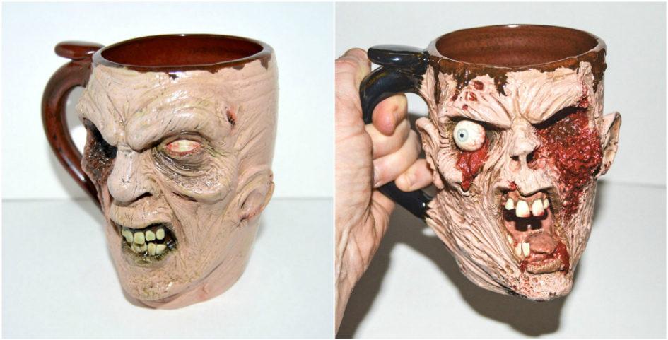 Художник Джо Скрэвис создает кружки в виде голов чудищ