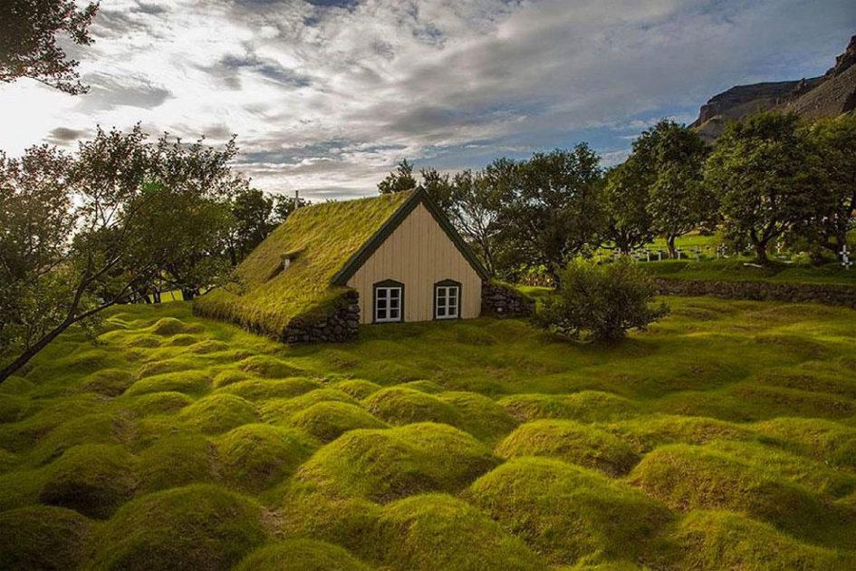 Церковь Хофскиркья - единственное здание с уникальной травяной крышей