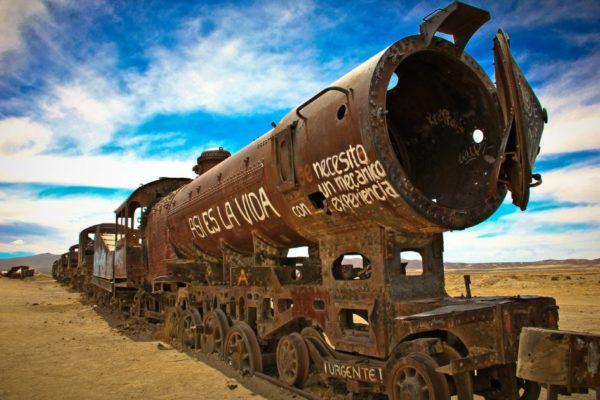 Кладбище поездов недалеко от боливийского города Уюни
